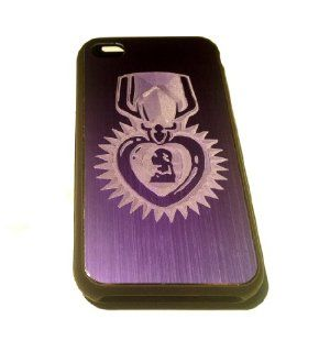 Apple Iphone Custom Case 4 4s Black Purple Aluimium Back Metal Plate   Purple Heart of Bravery Armed Forces Army Marines Navy Airforce Coast Guard Engraved Logo Cell Phones & Accessories
