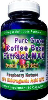 910mg Pure Green Coffee Bean Extract MAX ~ Svetol ~ GCA ~Raspberry Ketones ~ Contains up to 48% Chlorogenic Acid ~ Strongest Diet Pill Health & Personal Care