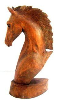 Horse Statue Horse Head Wood Handcarved Sculpture  COLLECTOR'S QUALITY, LG  OMA BRAND   African Wood Carvings Of Animals