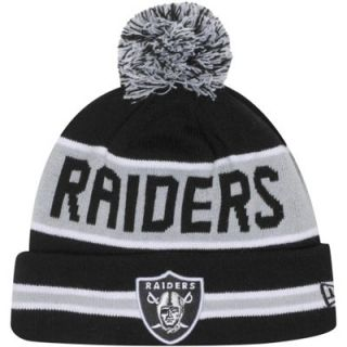 New Era Oakland Raiders The Coach Cuffed Knit Beanie with Pom  Silver/Black