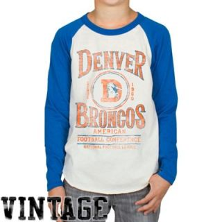 Junk Food Denver Broncos Youth Rookie Raglan T Shirt   Natural/Royal Blue