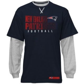New England Patriots Youth Faux Layer Long Sleeve T Shirt   Navy Blue/Ash