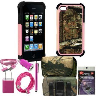 Mossy Oak Rugged Pink and Black Break up infinity Cover for iPhone 4s, 4. Comes with USB Power Kit, 3ft cable, 10ft extra long cable, usb car charger, house charger, stylus pen, radiation shield and horizontal camo case. Cell Phones & Accessories