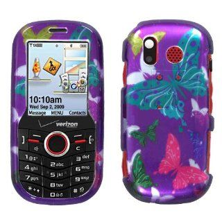 Fits Samsung U450 Intensity Hard Plastic Snap on Cover 2D Silver Butterfly Dot/Purple Verizon (does not fit Samsung u460 Intensity II) Cell Phones & Accessories