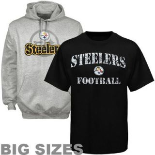 Pittsburgh Steelers Big Sizes Pullover Hoodie and T Shirt Combo   Black/Ash