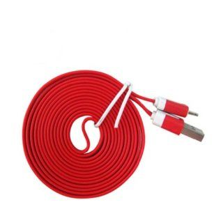Ayangyang Flat USB Data Sync Charger Cable for Apple Iphone 5 5g Ipad Mini Ipod Touch 5 Nano USB Date Cable for Iphone 5 8 Pin Flat Sync Cable for Iphone 5 Universal USB Charger Syna Calbe for Iphone 5 Ipad 4 Ipad Mini Red 1 Meter Long Packet of 2 Electro