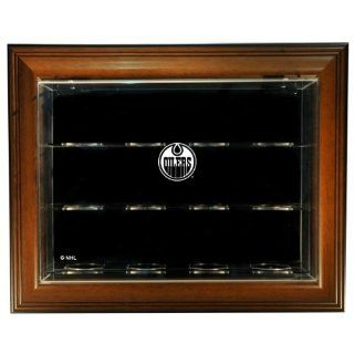 "NHL Edmonton Oilers 12 Puck ""Case Up"" Display Case with Museum Quality UV Upgrade, Brown  Sports Related Display Cases  Sports & Outdoors"
