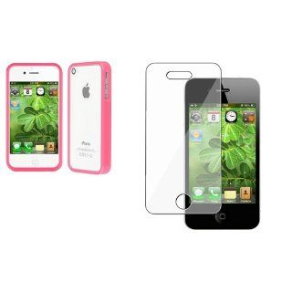 CommonByte Bumper Pink Shinny TPU Rubber Skin Gel Case Cover+LCD Protector for iPhone 4 4S Cell Phones & Accessories