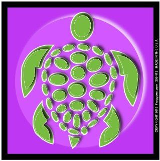 "SEA TURTLE   GREEN/PURPLE   STICK ON CAR DECAL SIZE 3 1/2"" x 3 1/2""   VINYL DECAL WINDOW STICKER   NOTEBOOK, LAPTOP, WALL, WINDOWS, ETC. COOL BUMPERSTICKER   Automotive Decals"