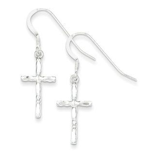 Sterling Silver Polished Cross Earrings, Best Quality Free Gift Box Satisfaction Guaranteed Dangle Earrings Jewelry