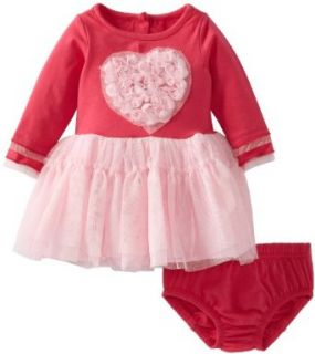 Nannette Baby Girls Newborn 2 Piece Heart Dress Set, Pink, 6 9 Months Infant And Toddler Playwear Dresses Clothing