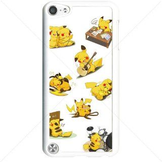 Pokemon Popular Cute Pikachu Apple iPod Touch iTouch 5th Generation Hard Plastic Black or White cases (White) Cell Phones & Accessories