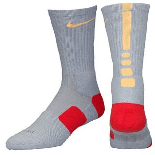 Nike Elite Basketball Crew Socks   Mens   Basketball   Accessories   Wolf Grey/Atomic Mango