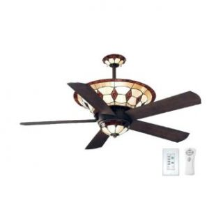 Ellington MC54ABZ5LKRCRD Manchester 54 Inch Five Blade Ceiling Fan with Remote and Wall Control, Aged Bronze with Tiffany Glass Light