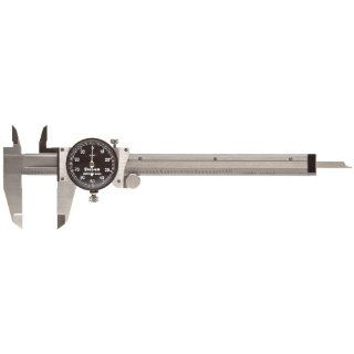 "Starrett B120A 6 Dial Caliper, Stainless Steel, Black Face, 0 6"" Range, +/ 0.001"" Accuracy, 0.001"" Resolution"