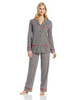 Anne Klein Women's Notch Pajama Set, Black Houndstooth, X Large