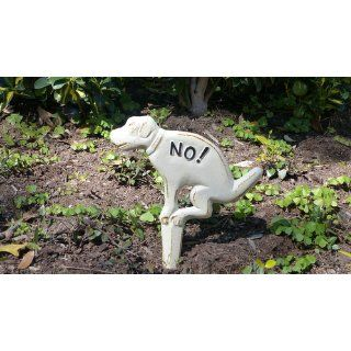 Esschert Design USA HB14 No Pooping Yard Sign, White  Garden Stakes  Patio, Lawn & Garden