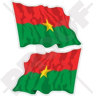 "BURKINA FASO Burkinabe Waving Flag, former Upper Volta AFRICA 4,7"" (120mm) Vinyl Bumper Stickers, Decals x2"