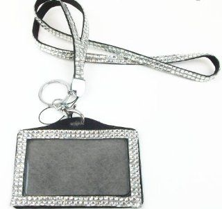 Rhinestone Bling Lanyard with Horizontal Lined ID Badge Holder and Key Chain (Clear)  Identification Badges