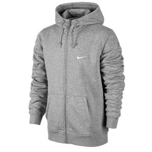 Nike Club Swoosh Full Zip Hoodie   Mens   Casual   Clothing   Dk Grey Heather/White