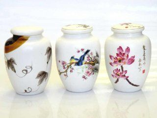 Porcelain Hand Painted Art Works Tea Jars(3 pcs/Sets) These Vintage Porcelain Jars Are Colorful With Artist Hand Painting Designs. It Comes Lily Flowers, Birds and Dragonfly Etc There Are a Lid With Air Stopper. All Hand Painted Artworks. Both Functional