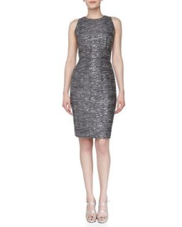 Womens Sleeveless Sequined Sheath Dress, Pewter   Carmen Marc Valvo   Pewter