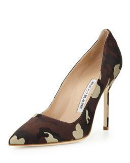 BB Satin 105mm Pump, Camo (Made to Order)   Manolo Blahnik   Camo (38.5B/8.5B)