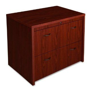 "Lorell Products   Lateral Files, 36""x24""x30"", Mahogany   Sold as 1 EA   Two drawer lateral file features an integrated rail system accommodating both letter size and legal size hanging file folders. Drawers are mounted on extra heavy duty pr"