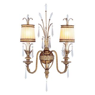 Livex La Bella 8802 65 Wall Sconce   Vintage Gold Leaf   17.5W in.   Wall Lighting