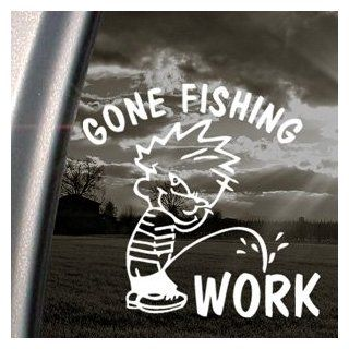 Funny Gone Fishing Decal Car Truck Window Sticker Automotive
