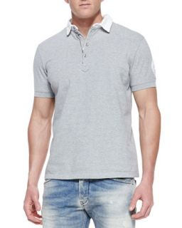 Mens Short Sleeve Pique Polo Shirt   Diesel   Grey (MEDIUM)