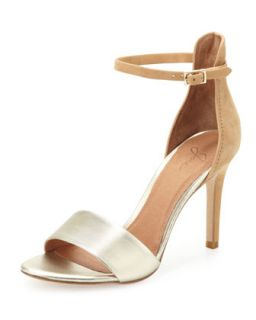 Jaclyn Two Tone Ankle Wrap Sandal, Nude/Platinum   Joie   Nude/Platinum (41.