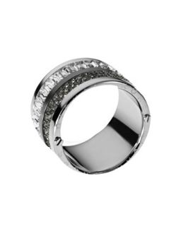 Multi Stone Pave Barrel Ring, Silver Color   Michael Kors   Silver (7)