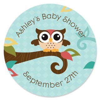 Owl   Look Whooo's Having A Baby   24 Round Personalized Baby Shower Sticker Labels Toys & Games
