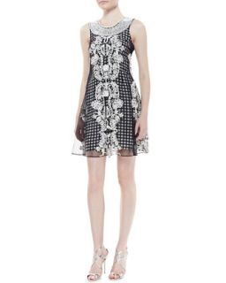 Womens Sleeveless Beaded Neck Trapeze Dress, Black/White   Tracy Reese   Open