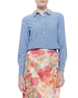Womens xander long sleeve button up shirt, Blue   kate spade new york   Blue
