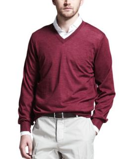 Mens Fine Gauge V Neck Sweater, Maroon   Brunello Cucinelli   Maroon (L/52)