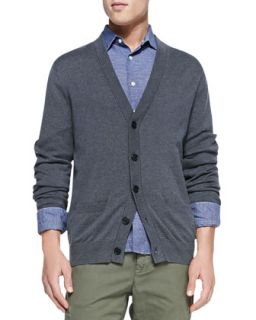 Mens Cashmere Blend Cardigan Sweater, Charcoal   Vince   Charcoal (MEDIUM)