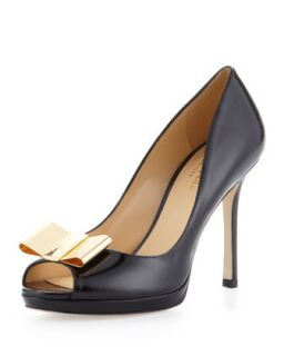 filipe patent peep toe bow pump   kate spade new york   Black (37.5B/7.5B)