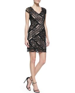 Womens Cap Sleeve V Neck Lace Cocktail Dress, Black   Nicole Miller   Black bk
