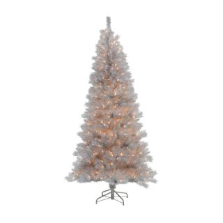 Silver White Pre Lit Christmas Tree   Christmas Trees