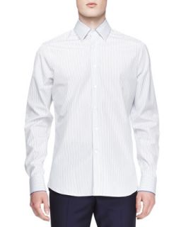 Mens Striped Cotton Long Sleeve Shirt   Alexander McQueen   Whtblu (S/50)
