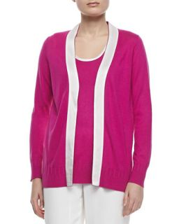 Womens Open Front Silk Cashmere Cardigan   Magaschoni   Pink/White (SMALL/4 6)
