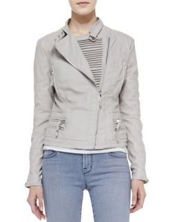 Womens Faux Leather Asymmetric Zip Moto Jacket, Taupe   Blank   Taupe (XS)
