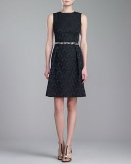Womens Jewel Neck Brocade Dress, Caviar   St. John Collection   Caviar (2)