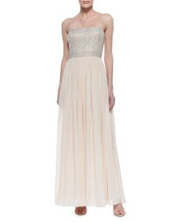 Womens Strapless Beaded Bodice Gown, Blush   Aidan Mattox   Blush (6)
