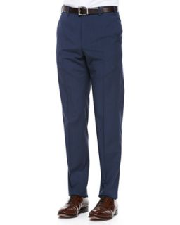 Mens Virgin Wool Flat Front Dress Pants, Blue Brown   Zanella   Blue (40)