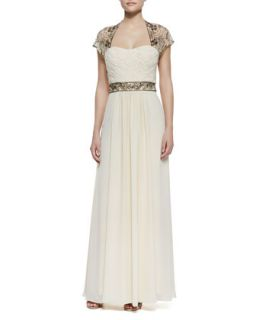 Womens Cap Sleeve Beaded Shoulder & Waist Gown, Champagne   Sue Wong
