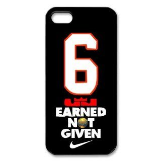 NBA Miami Heat star Lebron James 8 EARNED NOT GIVEN Tshirts Iphone 5 5S Case New style Case Cover Cell Phones & Accessories