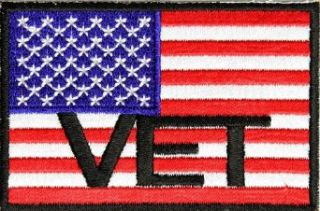 "Embroidered Iron On Patch   USA Veterans American Flag VET 3"" x 2"" Patch Clothing"